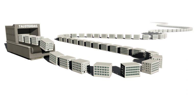 Rakennuksia liukuhihnalta